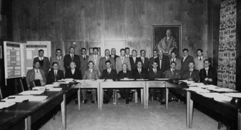 First meeting of the Faculty of Technology June 29, 1956 (Photographer: Unknown, UNSW Archives CN944/102)