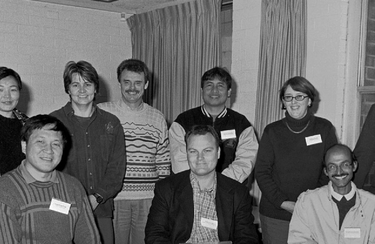 Foundations of University Learning and Teaching (FULT) participants with Pro-Vice-Chancellor Adrian Lee, 2001. (University Photographer, UNSW Archives 08/226)