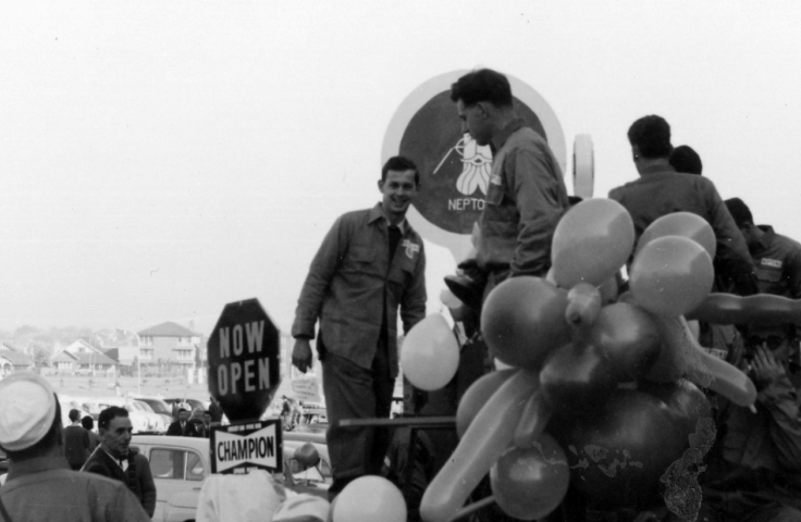 Students preparing floats on campus for Foundation Day, 1961. (Students' Union, UNSW Archives CN273/16/3)