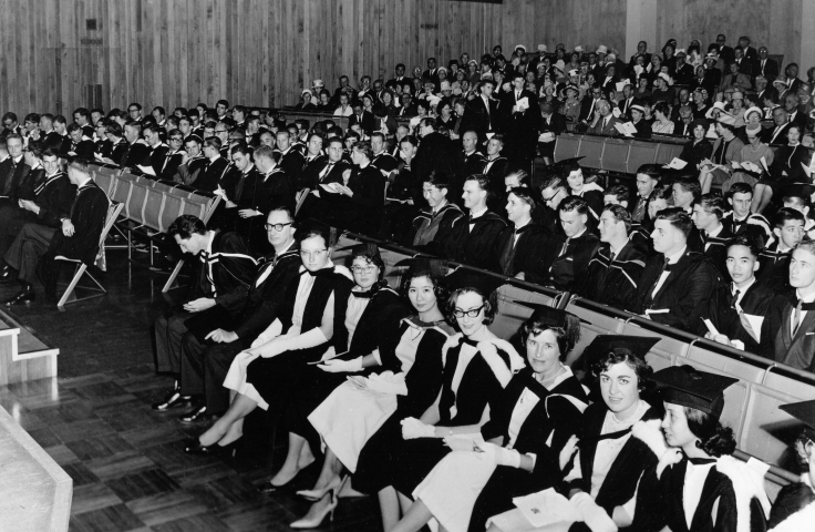 Graduands in Architecture, Arts and Commerce await the ceremony of conferring of degrees, 1963